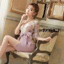 キャバドレス 長袖 小さいサイズ 大きいサイズ ドレス ミニ xs s m l xl サイズ ワンピース タイト 花柄 フラワー シースルー 刺繍 レース ペプラム リボン ピンク 【ROUGE |