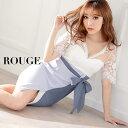 キャバドレス 大きいサイズ 小さいサイズ ドレス ミニ xs s m l xl サイズ ワンピース リボン ウエストリボン レース 花 フラワー 刺繍 マルチカラー ホワイト ブルー【ROUGE |