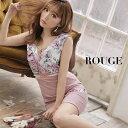 キャバドレス 小さいサイズ 大きいサイズ ドレス ミニ xs s m l サイズ ワンピース クロスデザイン フリル 花柄 フラワー フリル ノースリーブ ベルト バイカラー ピンク【ROUGE |