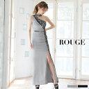 キャバドレス ドレス 大きいサイズ ロングドレス ワンピース ワンショルダー レース ハイネック グレー ブラック【ROUGE | ルージュ】あす楽 ミニドレス J-504IM-2003-1[OF03]