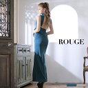 キャバドレス ドレス 大きいサイズ ロングドレス ワンピース ノースリーブ 背中魅せ レース ハイネック リボン ウエストリボン ブルーグリーン グレー【ROUGE | ルージュ】あす楽 ミニドレス J-512IM-2003-2