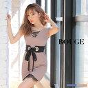 キャバドレス 大きいサイズ ドレス ミニ s m l サイズ ワンピース レース タイト ショート袖 リボン ウエストリボン …