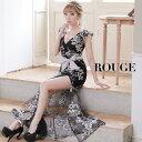 【あす楽】キャバドレス ロング ドレス 刺繍 フラワー シースルー 花柄 フラワー リボン ウエストリボン ブラック グ…