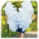 巨大扇子!白ダチョウ羽根扇子(駝鳥センス)【送料無料】(中国雑貨、羽毛扇子、舞踊扇子)  rouishin615