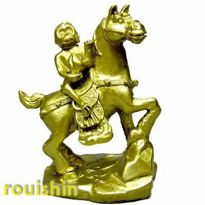 開運アイテム【風水グッズ】申年、干支置物さる樹脂製 乗馬猿置き物(小) rouishin1009