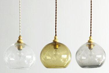 studioprepa×ROUNDROBINOldGlassPendantLamp:clearblackamberROUNDROBIN×スタジオプレパ気泡入りの吹きガラスのガラス照明オールドグラスペンダントランプ: