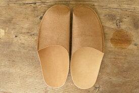 トートーニー ワンピース レザースリッパ キャメルtoe to knee one-piece slippers CAMEL一枚革のシンプルなレザースリッパ・革製ルームシューズ: