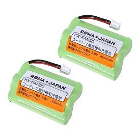 【2個セット】パナソニック対応 KX-FAN50 / HHR-T404 / BK-T404 コードレス子機用 互換充電池 ニッケル水素電池