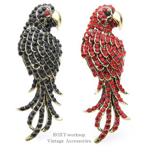 【送料無料】 ブローチ 鳥 インコ オウム ワシ 鷲 黒 赤 ラインストーン レディース メンズ ユニセックス アニマル ブローチピン ギフト プレゼント ストーン かっこいい