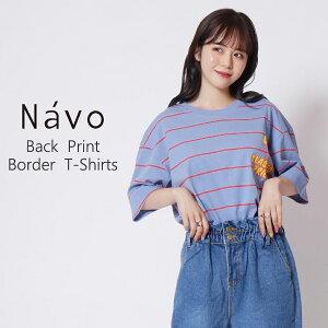 Navo バックプリントワッペンボーダーTEシャツ ユニセックス メンズファッション レディースファッション カジュアル 海外セレブ ブランド