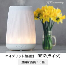 LEDライト調光機能付ハイブリッド加湿器ライツtsk|大容量超音波2.4LREIZウォームミストLED調光タンクレスオフタイマーリモコンスリーアップ
