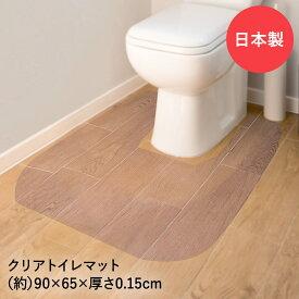 トイレマット900×650×1.5mm クリア 1枚 | おしゃれ マット 敷物 インテリア クリアマット 透明 トイレ用品 トイレグッズ 床 汚れ防止 フローリング 傷防止 床暖房対応 クリアー クリアーマット 足元マット