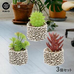 フェイクグリーン ストーン ポット 3個セット | 観葉植物 卓上 フェイク ミニ 人工観葉植物 造花 サボテン 多肉植物 小さい セメント鉢 インテリアグリーン アーティフィシャルグリーン おし