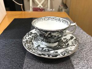 ティーカップ&ソーサー「父の日早割」 コーヒー紅茶 イギリス 内祝い ギフト ロイヤルクラウンダービー ブラックエイビスプラチナ