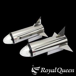 セール♪【送料無料】【ロケットマーカー310mm RM240 鏡面 磨き#1000 左右2本セット マーカー2個付き】トラック デコトラ パーツ トラック用品 ステンレス RoyalQueen