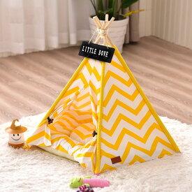 Mサイズ テント ペット ペットテント ティピーテント ペットハウスドッグハウス キャットハウス動物 犬 猫 小屋 簡易テント 室内 室内テント プレゼント 秘密基地 無地 ナチュラル