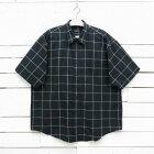 VAN HEUSEN ヴァンヒューゼン 半袖 チェックシャツ ブラック×ホワイト メンズ 2XLサイズ相当 / ssshirt144sa / 【中古】
