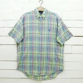 Ralph Lauren ラルフローレン BLAKE チェック柄 半袖 ボタンダウンシャツ メンズ Lサイズ相当 / ssshirt23sa / 【中古】