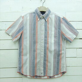 Tommy Hilfiger トミーヒルフィガー ストライプ柄 半袖 ボタンダウンシャツ メンズ Mサイズ / ssshirt27sa / 【中古】