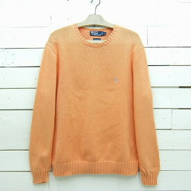 Ralph Lauren ラルフローレン ワンポイントロゴ コットンニットセーター オレンジ系 メンズ Lサイズ / sweater137sa / 【中古】