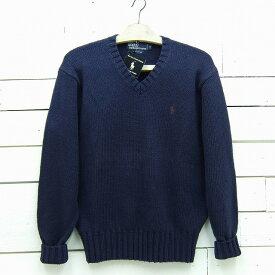 Ralph Lauren ラルフローレン Vネック ワンポイントロゴ コットンニットセーター ネイビー メンズ Sサイズ / sweater139sa / 【中古】