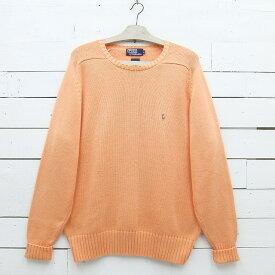 Ralph Lauren ラルフローレン ワンポイント コットンニットセーター オレンジ系 メンズ Lサイズ / sweater73sa / 【中古】