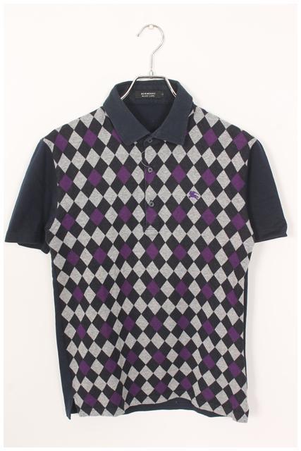 【4月27日に再値下げ!】バーバリーブラックレーベル ホース刺繍アーガイルポロシャツ[MTSO43400]【PP】【中古】【5400円以上のご購入で送料無料】