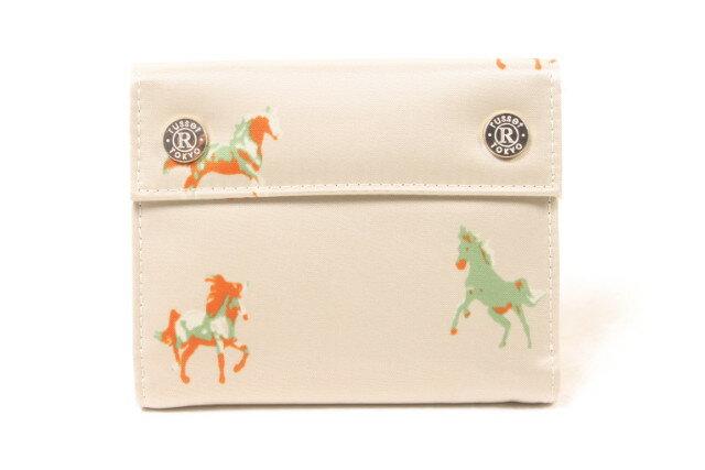 【11月15日に再値下げ!】ラシットrusset 18SS Simple Mini Wallet WOODLANDER ホース柄三つ折財布[LWTP56137]【中古】【5400円以上のご購入で送料無料】