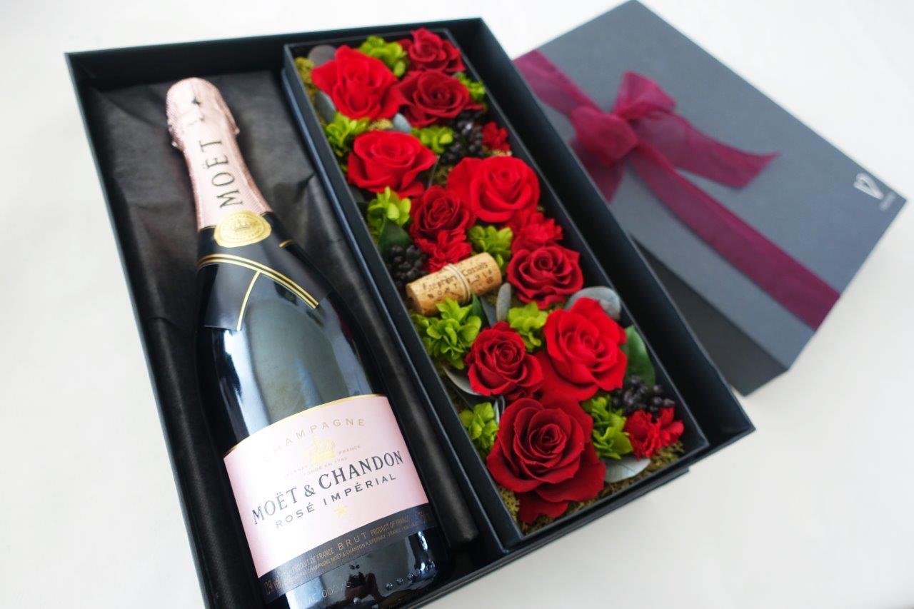 【モエ エ シャンドン ロゼ ブリュット アンペリアル 750ml】【赤い薔薇 プリザーブドフラワー】シャンパン・ワイン セット ギフト・花・フラワー・プレゼント・贈り物・記念日・結婚祝い・プリザ・母の日・還暦祝い・お中元