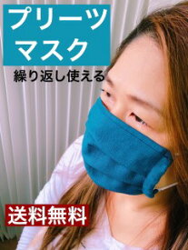 繰り返し使える布マスク【送料無料】 繰り返し使える 大人用プリーツ 藍色×白