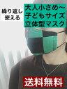 新作 繰り返し使える布マスク【小顔マスク】【ダブルガーゼ】子供マスク Mサイズ 鬼滅 刃 炭治郎風 和柄×ホワイト