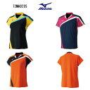 ミズノ バドミントン レディ—スゲームシャツ 72MA8205 ブラック ドレスネイビー フレイムオレンジ S〜XL