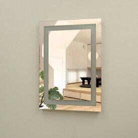壁掛けLEDライト付き浴室洗面化粧台ミラー スクエア LED照明フレームレスミラー 70cm×50cm おしゃれ鏡
