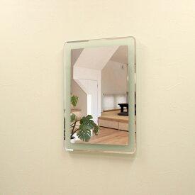 壁掛けLEDライト付き浴室洗面化粧台ミラー 角丸 LED照明フレームレスミラー 70cm×50cm おしゃれ鏡