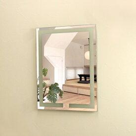 壁掛けLEDライト付き浴室洗面化粧台ミラー 縦型スクエア LED照明フレームレスミラー 60cm×80cm おしゃれ鏡