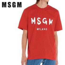 21 MSGM エム・エス・ジー・エム メンズ レッド MILANOロゴ 半袖 Tシャツ