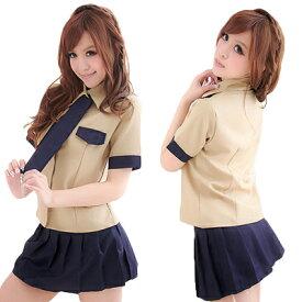 コスプレ 女子高生 カーキ色×紺でお洒落なプリティセーラー セーラー服 学生服 JK 制服 コスプレ
