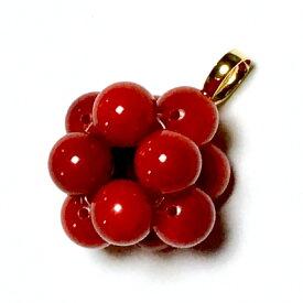 【Rvaru】 K18トップ 赤珊瑚 レッドコーラル 6mm キューブ型 特大 血赤 天然石 赤さんご K18YG ペンダントトップ 18金イエローゴールド/ ネックレストップ
