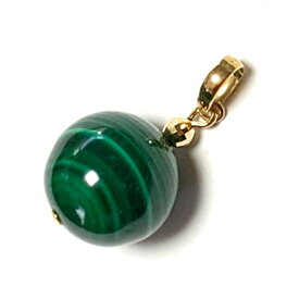 【Rvaru】 K18トップ マラカイト 12mm ミラーボール付き ペンダントトップ 孔雀石 K18YG 18金イエローゴールド ネックレストップ 誕生石 天然石