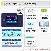 WiFiレンタル無制限ワイマックスレンタル端末詳細