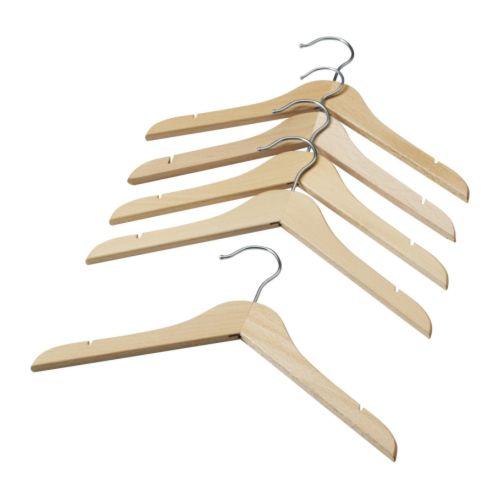 IKEA 子供用【木製ハンガー5本セット】ベビー/キッズ用ハンガー/ナチュラル/ビーチ無垢材