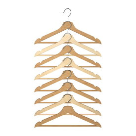 IKEA 【BUMERANG】 木製ハンガー8本組 ナチュラル/ビーチ無垢材 イケア