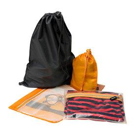 IKEA【UPPTACKA】 パッキングバッグ4個セット ポーチ/小物入れ/巾着×2個 メッシュ トラベル/旅行に!/スーツケースやバッグ内の整理整頓に♪