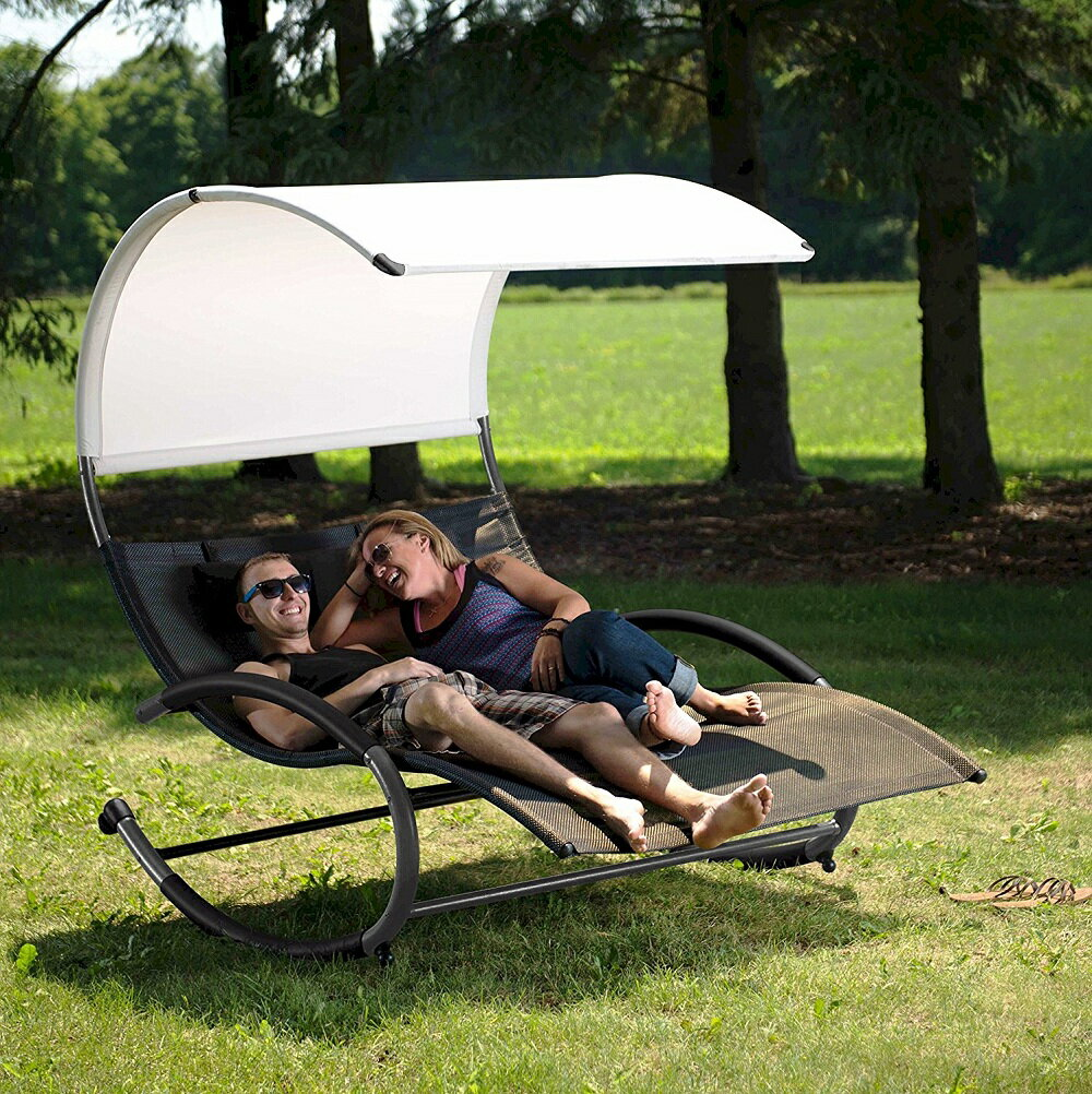 Vivere Sienna 大型 2人用サマーベッド キャノピー付き スリングチェアー Double Chaise Rocker