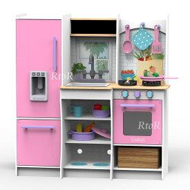 【送料無料】KIDKRAFT 木製キッチンセット「Harvest Play Pink Kitchen」小物22ピース付き♪ キッドクラフト/おままごと/大型キッチン/本格的/ピンク ※同梱/ラッピング不可