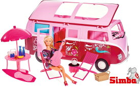 Simba Toys 【Steffi LOVE】お人形1体+ワーゲンバスセット ハワイアンキャンピングカー 50種類以上の小物付き!