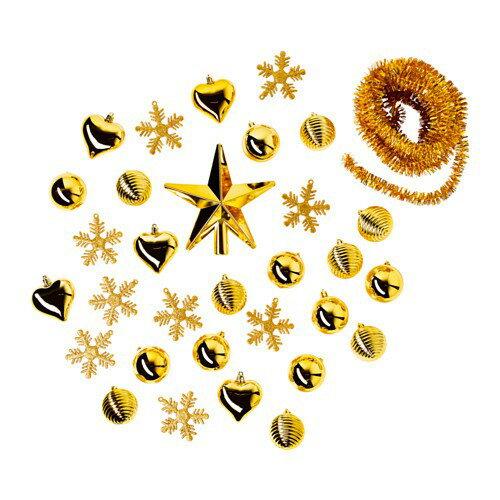 【訳あり/アウトレット2016年】VINTER 2016 クリスマスオーナメント ハンギングデコレーション32点セット ゴールドカラー 50327840