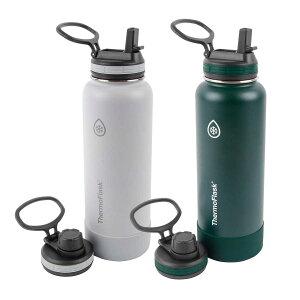 ThermoFlask ステンレスサーモマグ 1.2L 2本セット フタ2種類/ハンドル付き サーモフラスク 真空ステンレスボトル 二重壁断熱 トラベルマグ/まほうびん/水筒