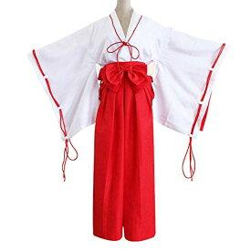 巫女 コスプレ 犬夜叉 桔梗 風 衣装セット (白/紅) 清楚 可憐 コスチューム みこ 装束