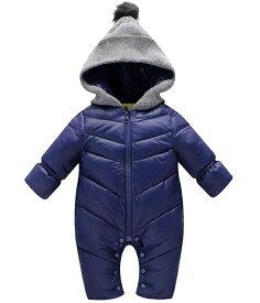 ベビー ジャンプスーツ カバーオール 外出服 (ブルー) 着ぐるみ 中綿 厚手 防寒